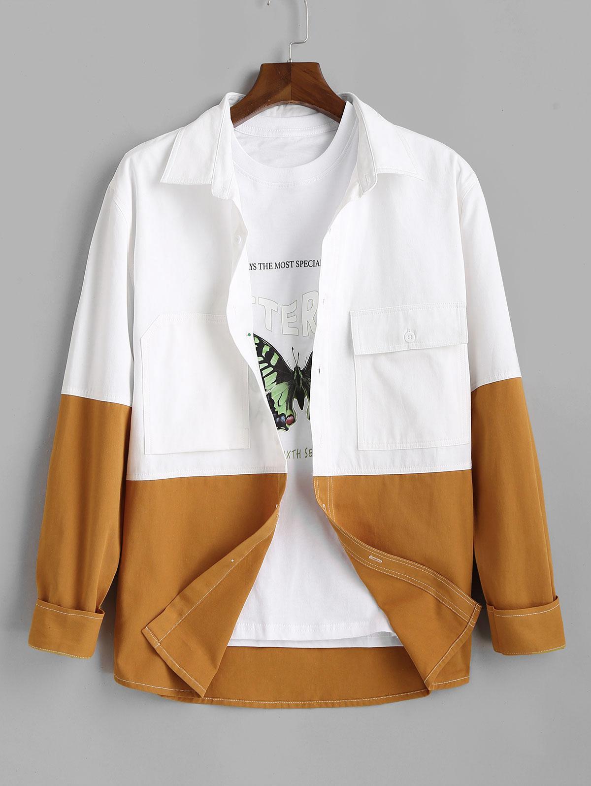 Chemise à Manches Longues Deux-Tons - ZAFUL - Modalova