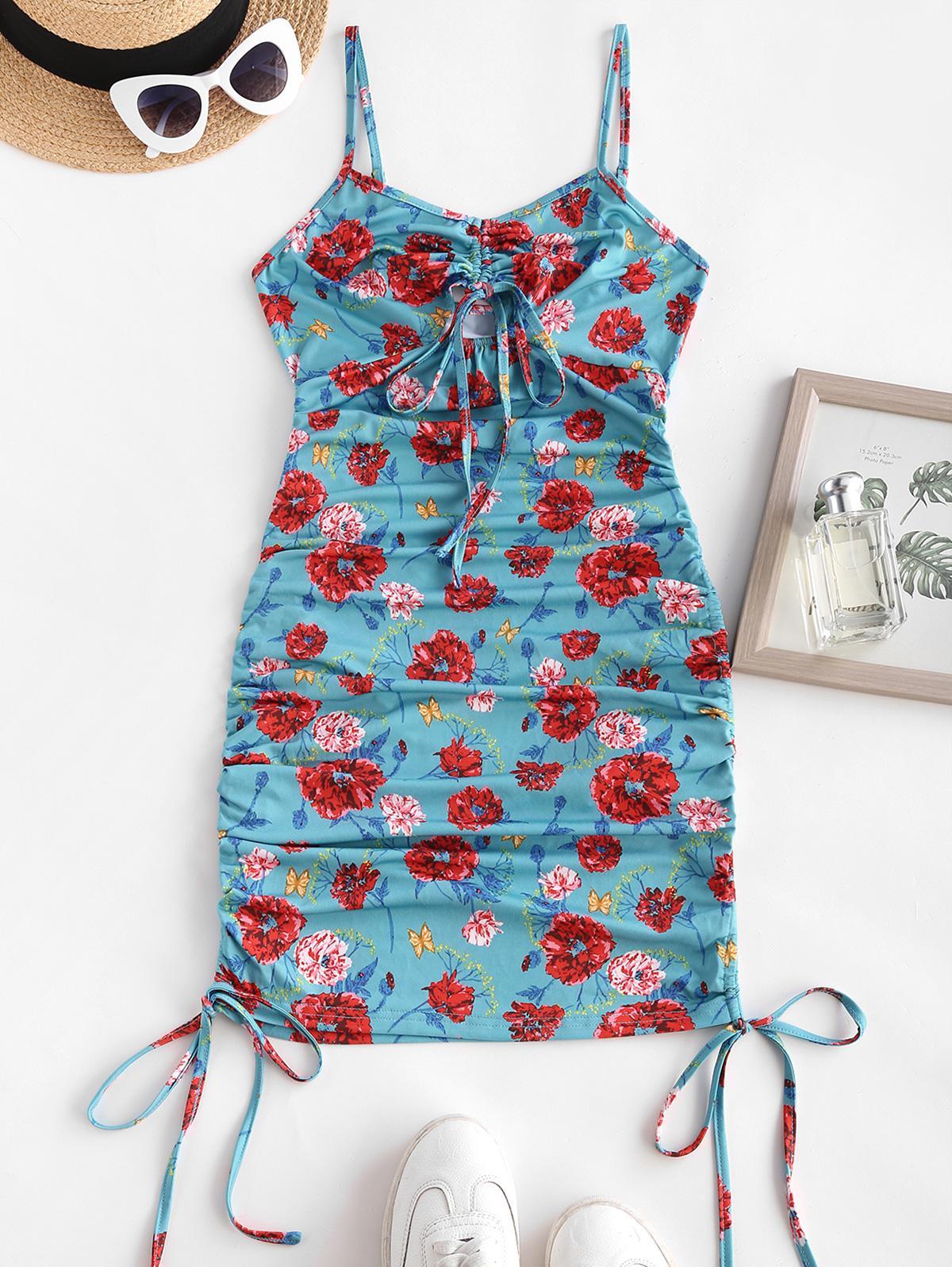 ZAFUL Cinched Floral Print Mini Bodycon Dress