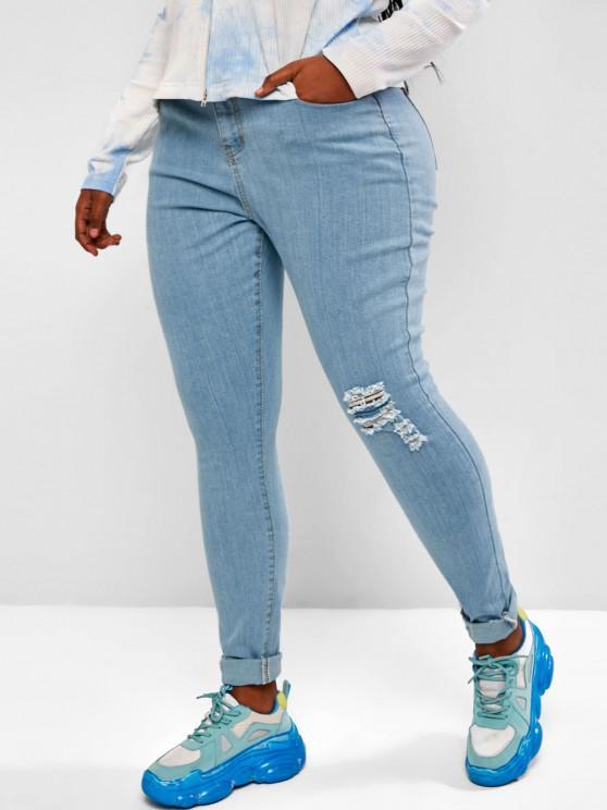 Plus Size Ripped Light Wash Skinny Jeans - أزرق فاتح L