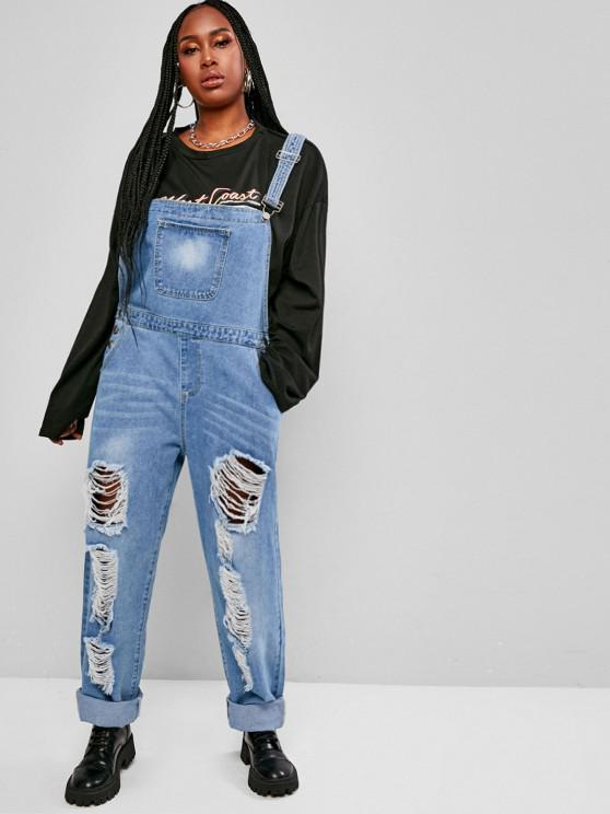 Plus Size Distressed Denim Overalls - أزرق فاتح L