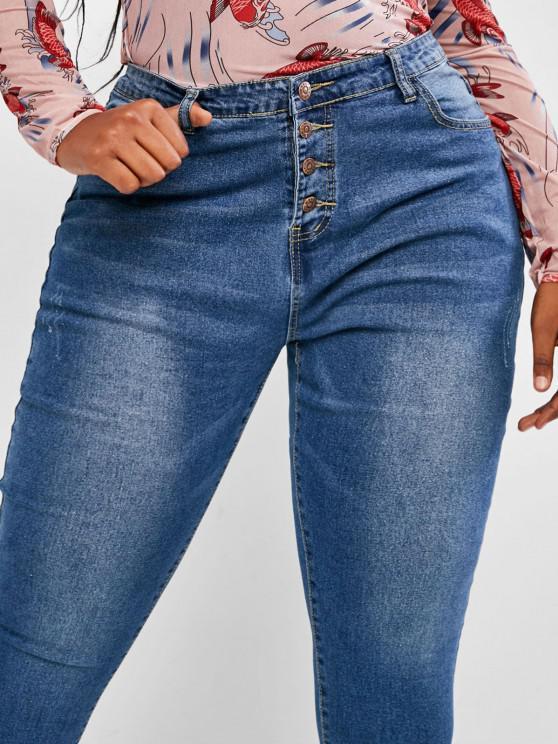 Plus Size Basic Button Fly Frayed Basic Jeans - Blue 1xl   ZAFUL