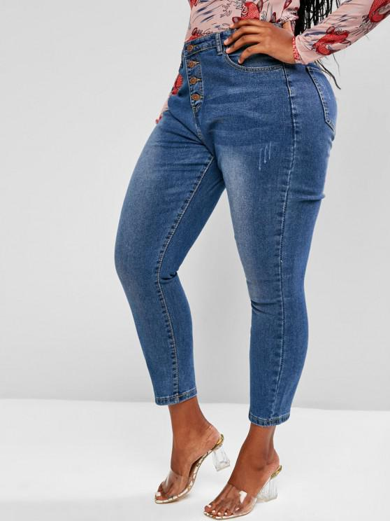Plus Size Basic Button Fly Frayed Basic Jeans - أزرق 3XL