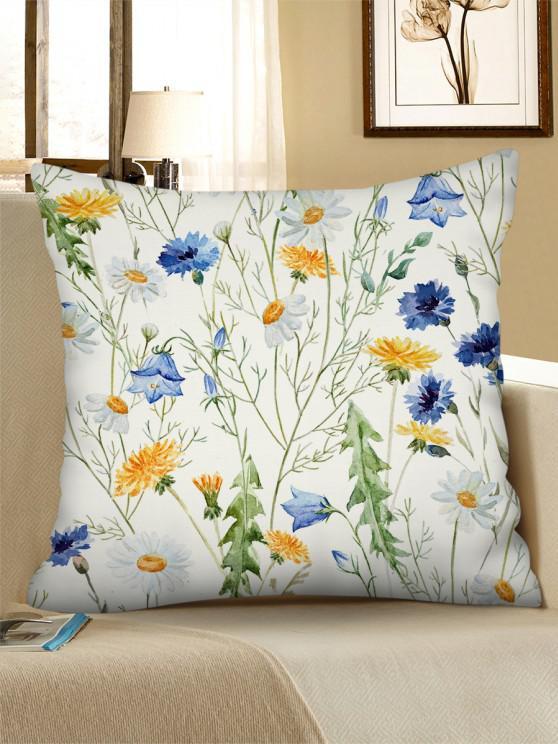 Floral Printed Fresh Linen Square Pillowcase - الأبيض الدافئ W18 × L18 بوصة