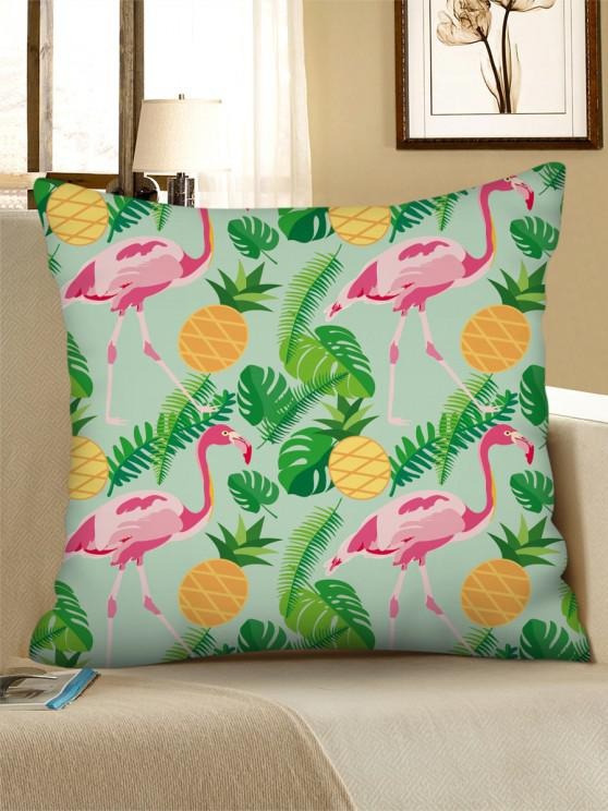 fashion Tropical Flamingo Pineapple Printed Linen Pillowcase - GREEN PEAS W18 X L18 INCH