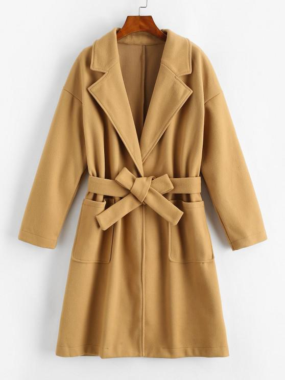 latest Pockets Belted Wool Blend Long Coat - COFFEE L