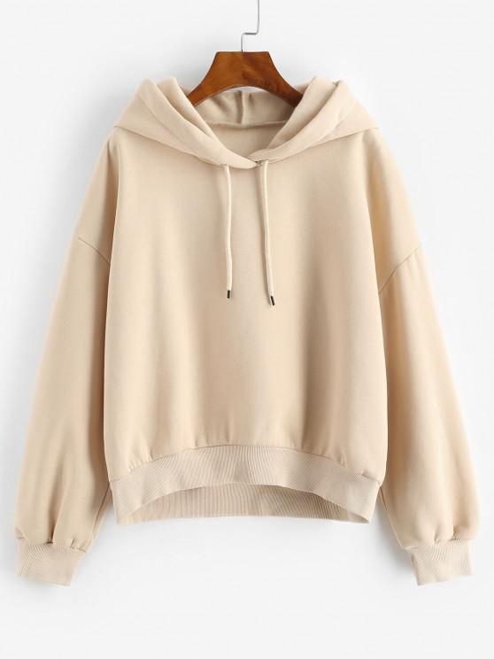 Drop Shoulder Loose Plain Hoodie - القهوة الخفيفة M