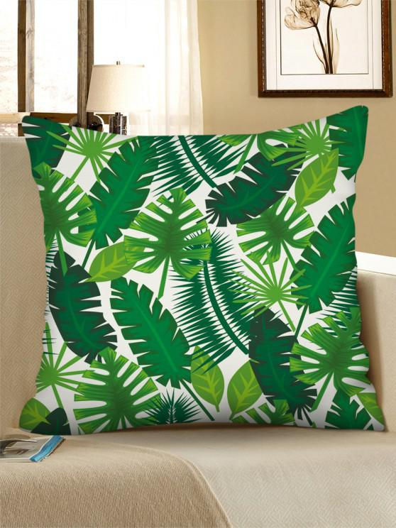 latest Printed Tropical Leaves Linen Square Pillowcase - MEDIUM SPRING GREEN W18 X L18 INCH