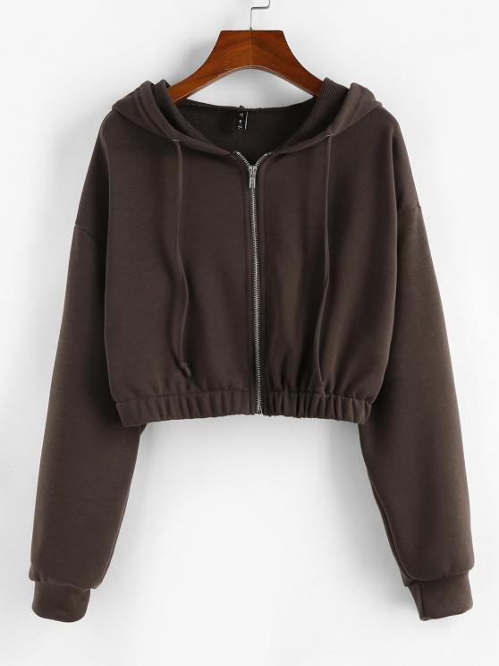shop ZAFUL Zip Up French Terry Cropped Hoodie - MOCHA M