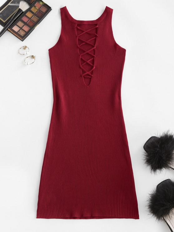 fancy Ribbed Criss Cross Bodycon Dress - DEEP RED ONE SIZE