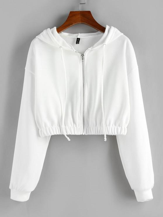 ZAFUL Zip Up French Terry Cropped Hoodie - أبيض XL