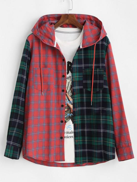 Plaid Colorblock Pocket Hooded Shirt Jacket - أحمر M