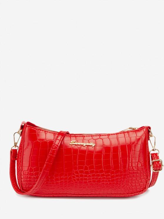 chic Metal Letter Textured Shoulder Bag - LAVA RED
