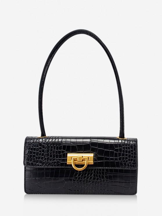 lady Rectangle Retro Shoulder Bag - BLACK