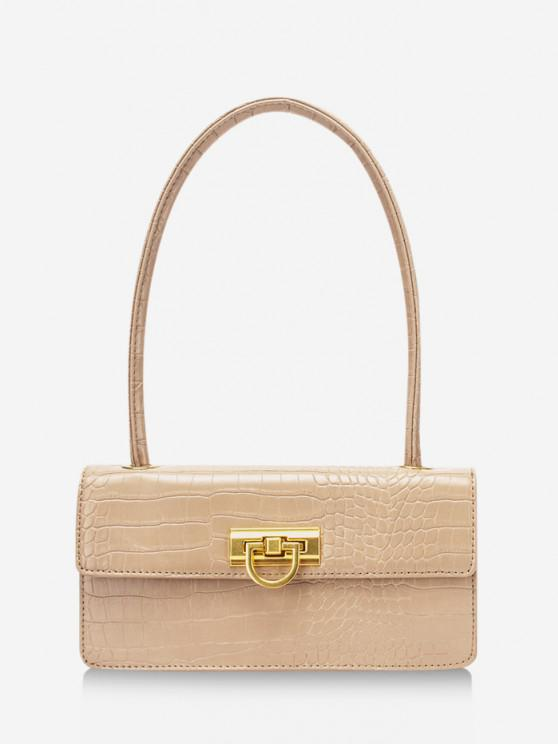 best Rectangle Retro Shoulder Bag - BLANCHED ALMOND