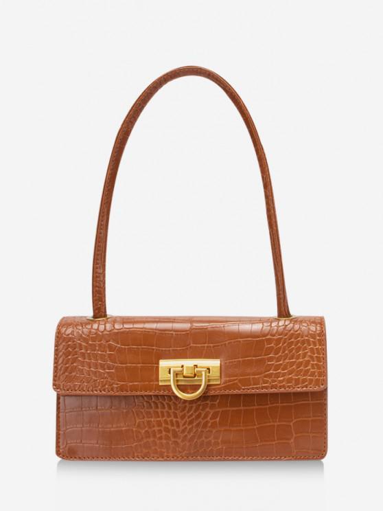 Rectangle Retro Shoulder Bag - البني الفاتح