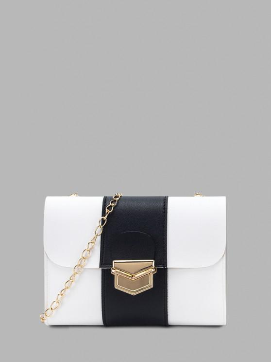 trendy Colorblock Chain Rectangle Crossbody Bag - WHITE