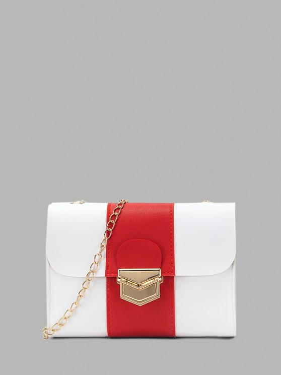 chic Colorblock Chain Rectangle Crossbody Bag - RED