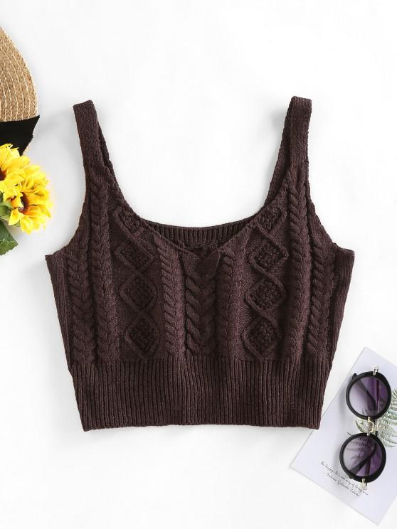 shops ZAFUL Cable Braided Knit Crop Sweater Tank Top - DEEP COFFEE M