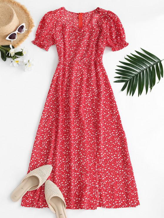 chic Puff Sleeve Ruched Slit Ditsy Floral Dress - RED S