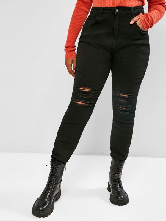 Plus Size Distressed Skinny Jeans - Schwarz 4XL