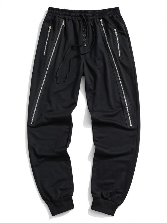 women Button Zipper Embellished Jogger Sweatpants - BLACK XL
