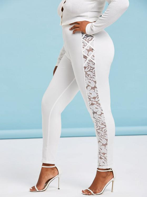 Plus Size High Waisted Lace Insert Skinny Leggings - Weiß 5X