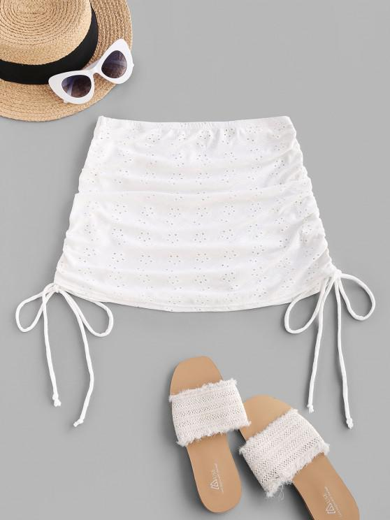 chic ZAFUL Broderie Anglaise Cinched Side Mini Beach Skirt - WHITE L