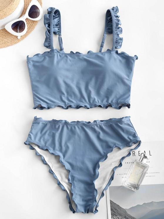 ZAFUL Lettuce High Waisted Cropped Tankini Swimwear - أزرق فاتح XL