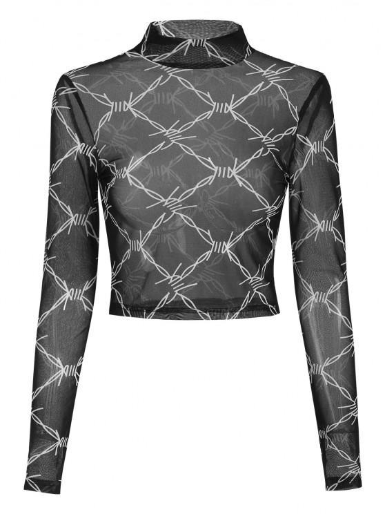 affordable ZAFUL Geo Mock Neck Mesh Crop T Shirt - BLACK S