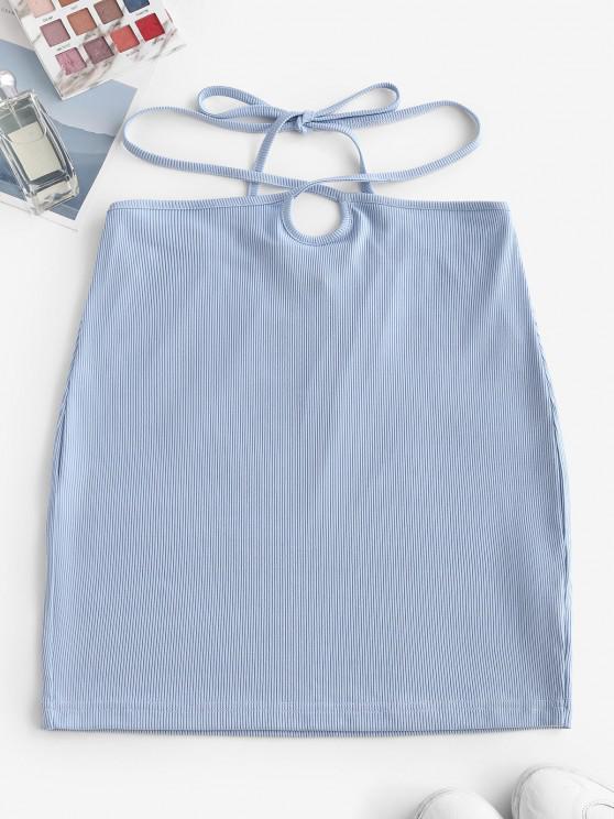 lady ZAFUL Ribbed Straps Tie Bodycon Skirt - LIGHT BLUE M