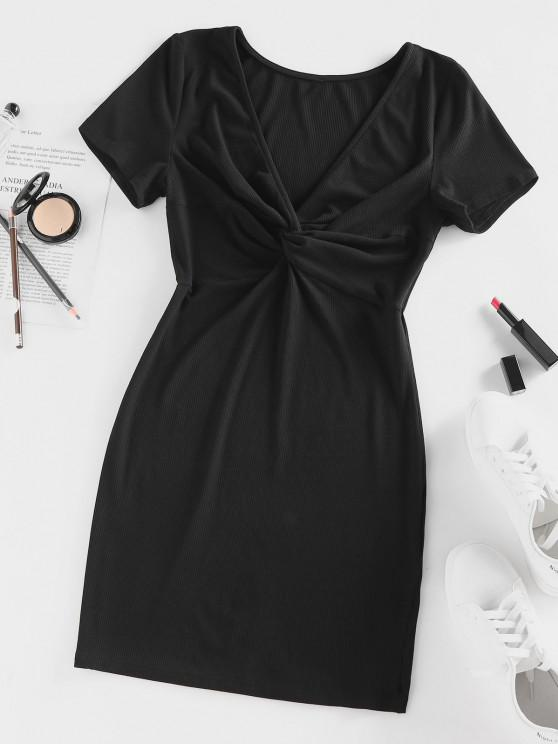 unique ZAFUL Ribbed Twisted Plunge Fitted Dress - BLACK M