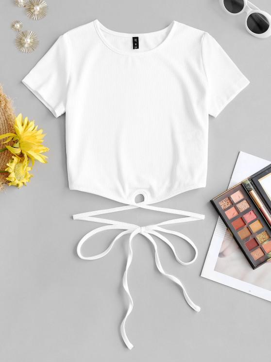latest ZAFUL Ribbed Straps Tied Cropped Tee - WHITE M
