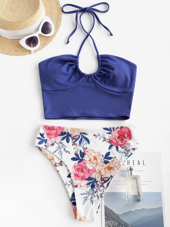 ZAFUL Ribbed Flower High Rise Cropped Tankini Swimwear - ازرق غامق M