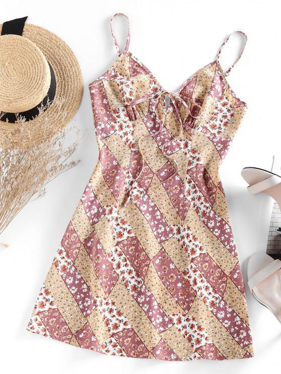 shop ZAFUL Floral Print Tied Mini A Line Dress - MULTI L