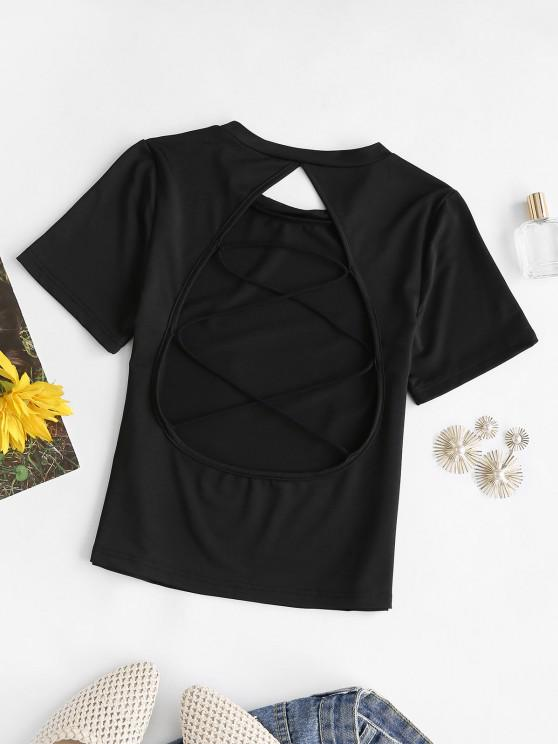 hot Criss Cross Cutout Short Sleeve Tee - BLACK S