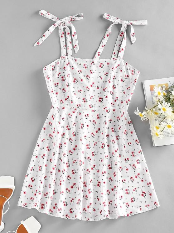 shops ZAFUL Floral Tie Shoulder Mini Summer Dress - WHITE S