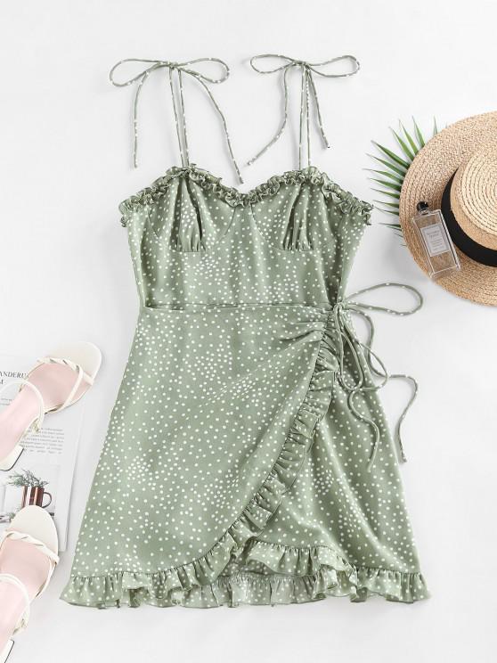 women ZAFUL Polka Dot Ruffle Tie Shoulder Overlap Dress - LIGHT GREEN S