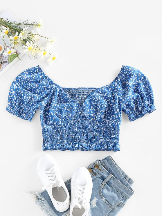 ZAFUL Ditsy Print Puff Sleeve Ruffle Smocked Blouse - أزرق L