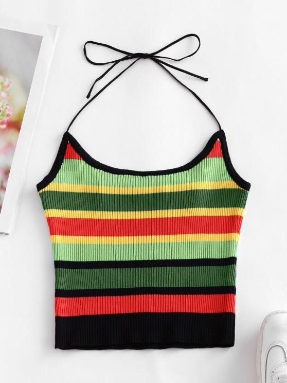 trendy ZAFUL Halter Knitted Colorful Stripes Crop Top - DEEP GREEN L