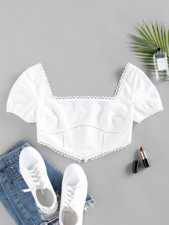 ZAFUL Back Zipper Square Neck Cropped Blouse - أبيض XL
