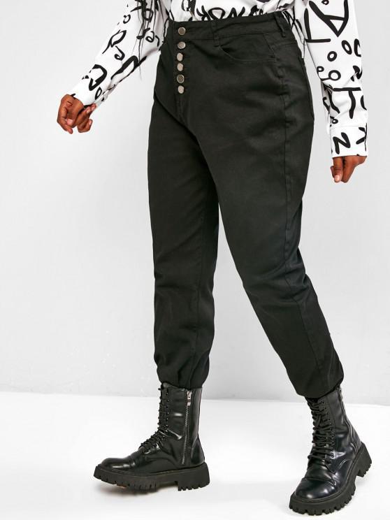 new Plus Size Button Fly Frayed Hem High Rise Jeans - BLACK L