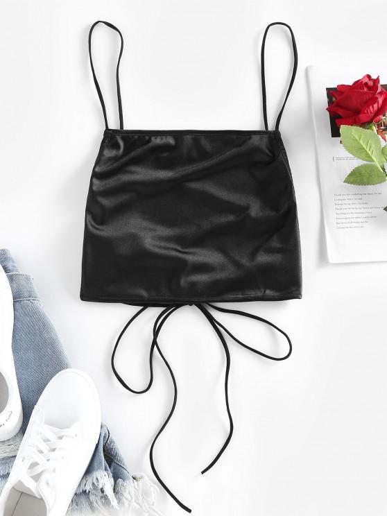 ladies ZAFUL Lace Up Crop Cami Tank Top - BLACK S