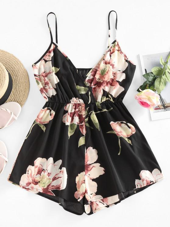 shop ZAFUL Flower Surplice Cami Wide Leg Romper - BLACK S