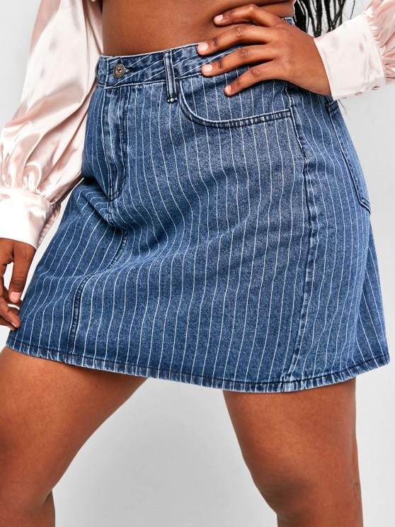 shop Plus Size Pinstriped Mini Denim Skirt - BLUE L