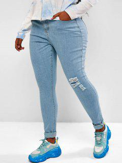 Plus Size Ripped Light Wash Skinny Jeans - Light Blue 3xl