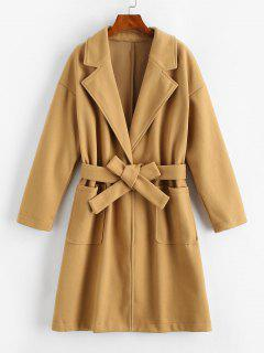 Pockets Belted Wool Blend Long Coat - Coffee M