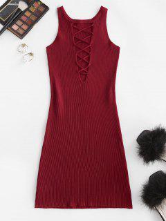 Ribbed Criss Cross Bodycon Dress - Deep Red