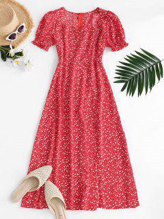 Vestido Fruncido Floral Con Manga Acampanada - Rojo M
