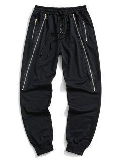 Button Zipper Embellished Jogger Sweatpants - Black L