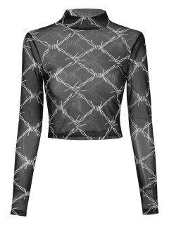 ZAFUL Geo Mock Neck Mesh Crop T Shirt - Black Xl